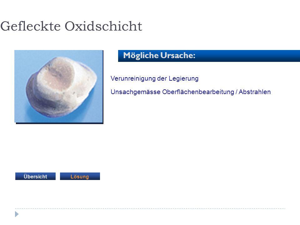 Verunreinigung der Legierung Unsachgemässe Oberflächenbearbeitung / Abstrahlen Gefleckte Oxidschicht Mögliche Ursache: LösungÜbersicht