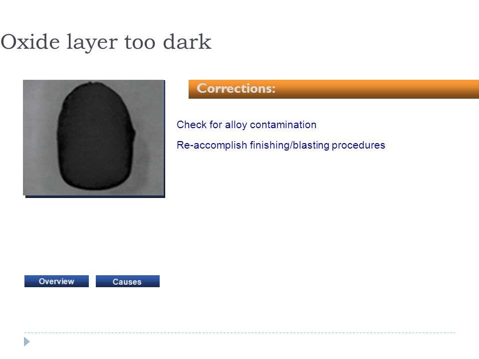 Check for alloy contamination Re-accomplish finishing/blasting procedures Oxide layer too dark Corrections: Causes Overview