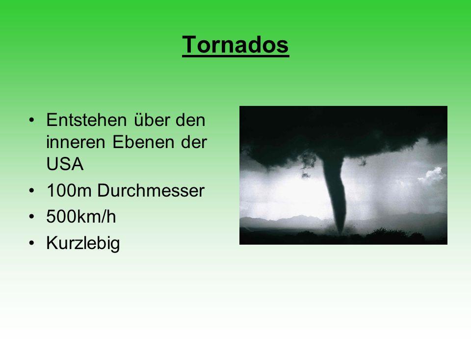 Tornados Entstehen über den inneren Ebenen der USA 100m Durchmesser 500km/h Kurzlebig
