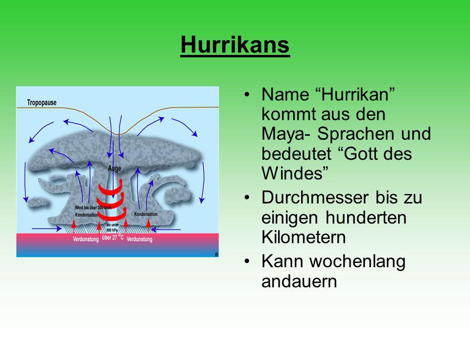 Entstehung eines Hurrikans Entstehen in der Passatwindzone Bei Wassertemperatur über 26,5°C Wasser verdunstet und steigt auf, durch Kondensation entstehen Wolken An der Meeresoberfläche entsteht Unterdruck Druckunterschied verursacht Wirbel Rechtsbewegung durch Corioliskraft