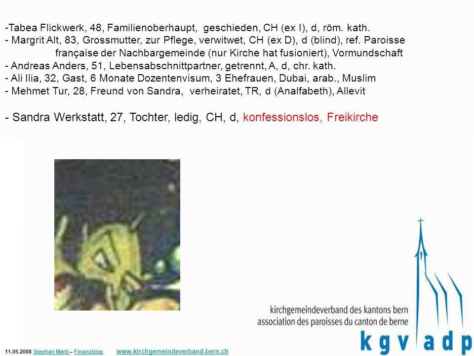 11.05.2008 Stephan Marti – Finanzblog www.kirchgemeindeverband-bern.chStephan Marti Finanzblog www.kirchgemeindeverband-bern.ch -Tabea Flickwerk, 48, Familienoberhaupt, geschieden, CH (ex I), d, röm.