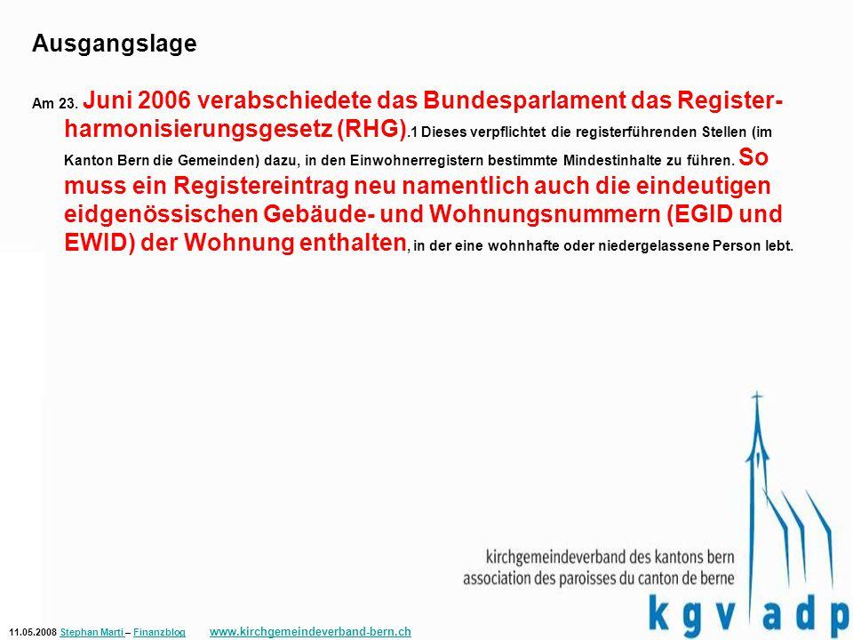 11.05.2008 Stephan Marti – Finanzblog www.kirchgemeindeverband-bern.chStephan Marti Finanzblog www.kirchgemeindeverband-bern.ch Im Berner Markt tätige Einwohnerkontrollsoftwarehersteller, soweit der Finanzdirektion bekannt Data Consulting SA Dialog Verwaltungs-Data AG – produktiv ab 25.