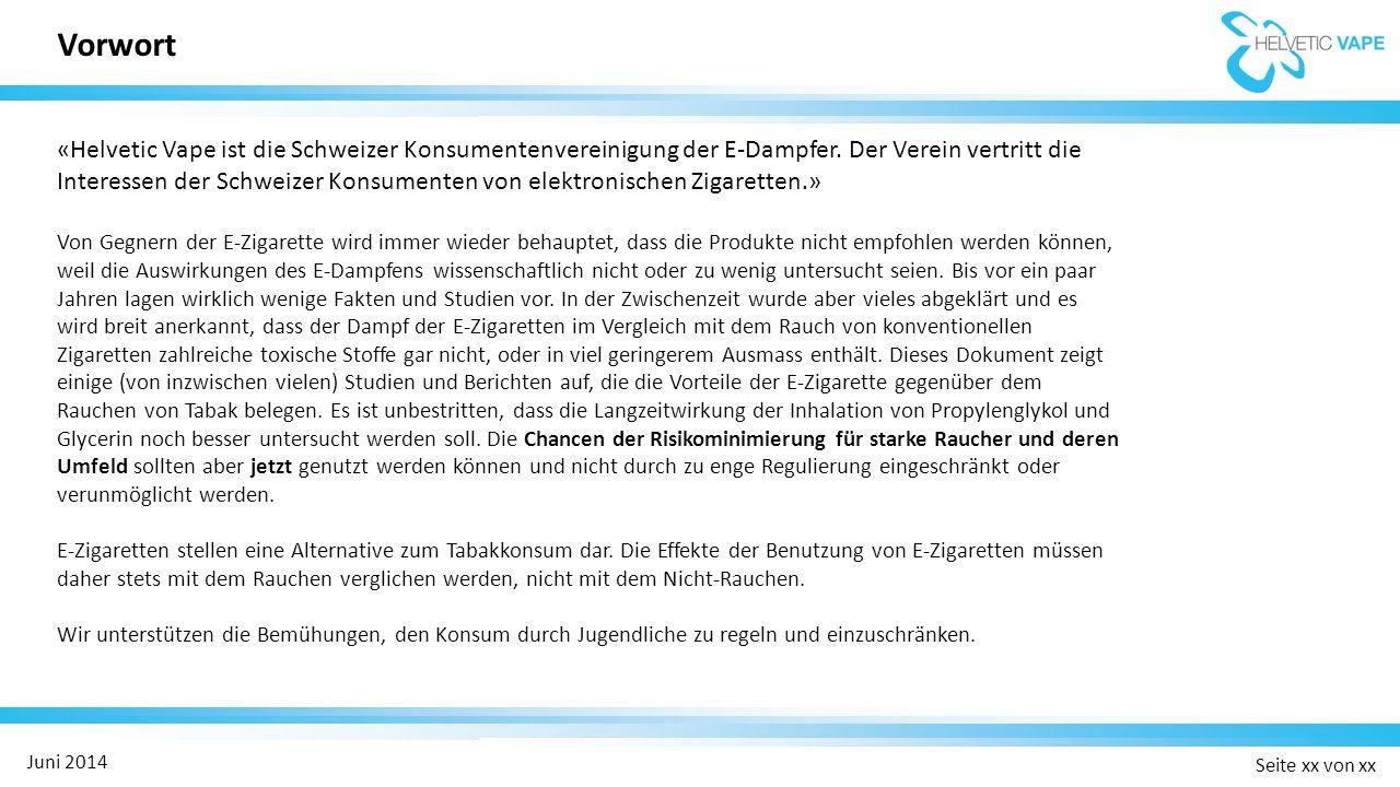 Seite xx von xx Juni 2014 Ergebnisse / Kernaussagen:  657 Leute, die das Rauchen aufgeben wollen, wurden randomisiert in drei Gruppen eingeteilt (289 zu Nikotin- E-Zigaretten, 295 zu Nikotin-Patch und 73 zu Placebo-E-Zigaretten).
