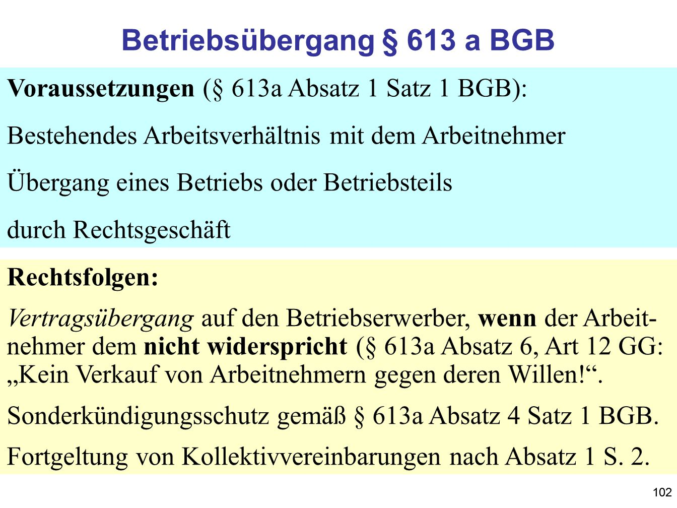 102 Betriebsübergang § 613 a BGB Voraussetzungen (§ 613a Absatz 1 Satz 1 BGB): Bestehendes Arbeitsverhältnis mit dem Arbeitnehmer Übergang eines Betri