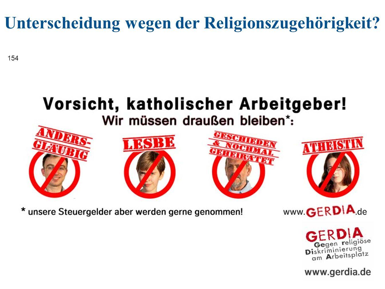 154 Unterscheidung wegen der Religionszugehörigkeit?