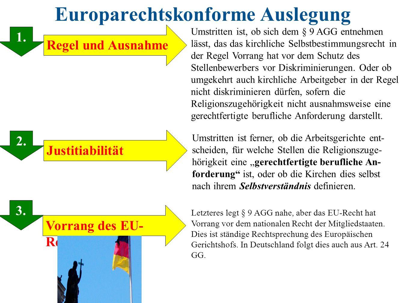 Europarechtskonforme Auslegung 1. 2. 3. 1. Justitiabilität Regel und Ausnahme Vorrang des EU- Rechts Umstritten ist, ob sich dem § 9 AGG entnehmen läs