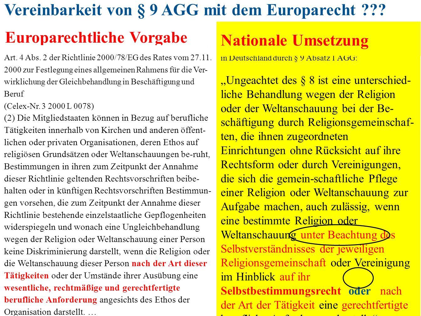 """173 in Deutschland durch § 9 Absatz 1 AGG: """"Ungeachtet des § 8 ist eine unterschied- liche Behandlung wegen der Religion oder der Weltanschauung bei d"""