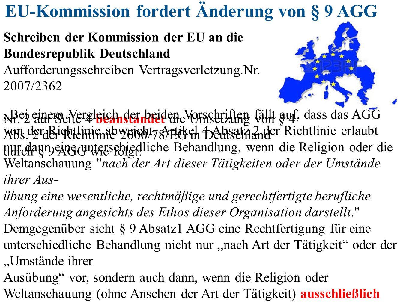 EU-Kommission fordert Änderung von § 9 AGG Schreiben der Kommission der EU an die Bundesrepublik Deutschland Aufforderungsschreiben Vertragsverletzung