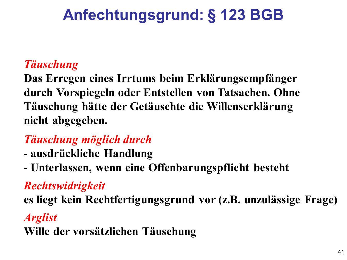 41 Anfechtungsgrund: § 123 BGB Täuschung Das Erregen eines Irrtums beim Erklärungsempfänger durch Vorspiegeln oder Entstellen von Tatsachen. Ohne Täus