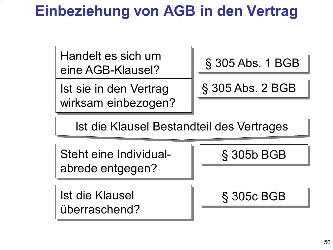 56 Einbeziehung von AGB in den Vertrag Handelt es sich um eine AGB-Klausel? § 305 Abs. 1 BGB Ist sie in den Vertrag wirksam einbezogen? § 305 Abs. 2 B