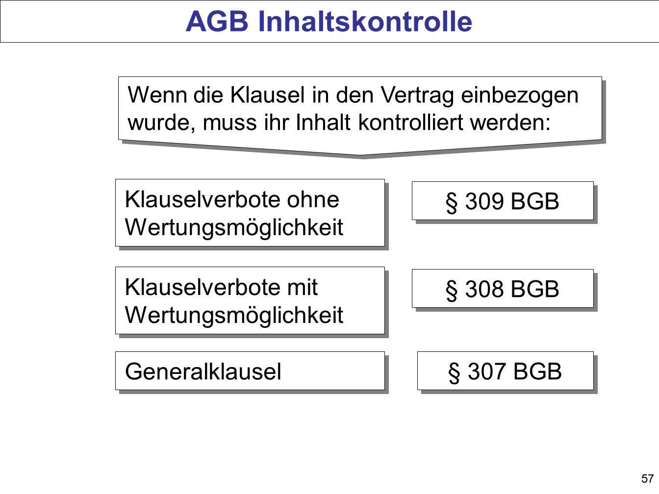 57 AGB Inhaltskontrolle Klauselverbote ohne Wertungsmöglichkeit § 309 BGB Generalklausel § 307 BGB Klauselverbote mit Wertungsmöglichkeit § 308 BGB We