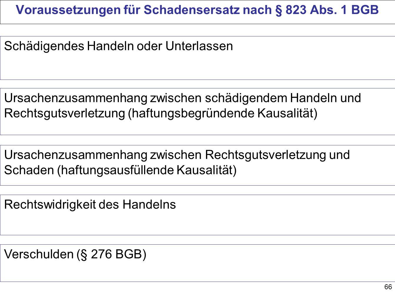 66 Voraussetzungen für Schadensersatz nach § 823 Abs. 1 BGB Schädigendes Handeln oder Unterlassen Ursachenzusammenhang zwischen schädigendem Handeln u