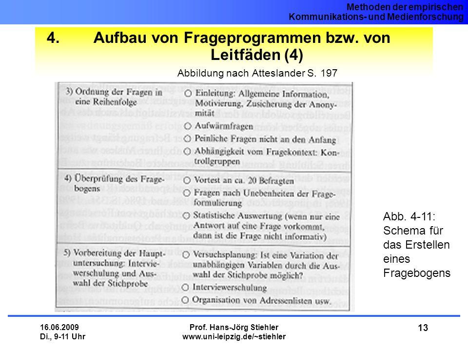 Methoden der empirischen Kommunikations- und Medienforschung 16.06.2009 Di., 9-11 Uhr Prof. Hans-Jörg Stiehler www.uni-leipzig.de/~stiehler 13 4.Aufba