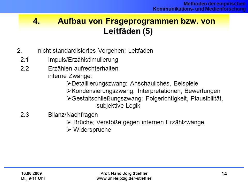 Methoden der empirischen Kommunikations- und Medienforschung 16.06.2009 Di., 9-11 Uhr Prof. Hans-Jörg Stiehler www.uni-leipzig.de/~stiehler 14 4.Aufba