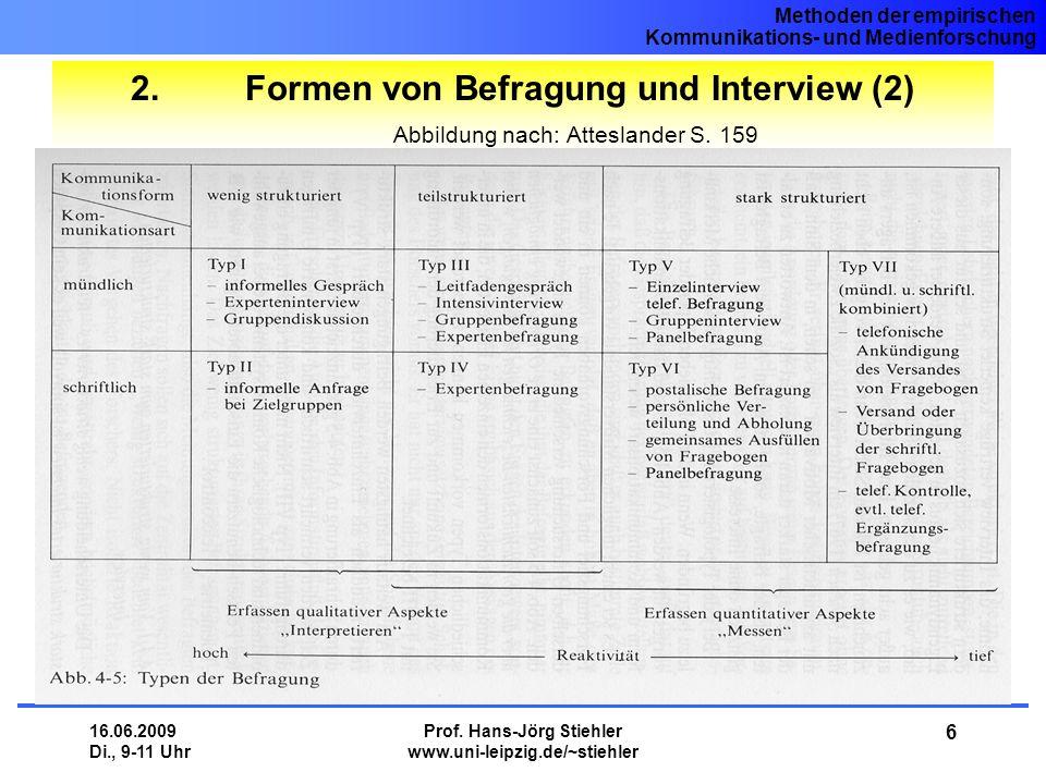 Methoden der empirischen Kommunikations- und Medienforschung 16.06.2009 Di., 9-11 Uhr Prof. Hans-Jörg Stiehler www.uni-leipzig.de/~stiehler 6 2. Forme