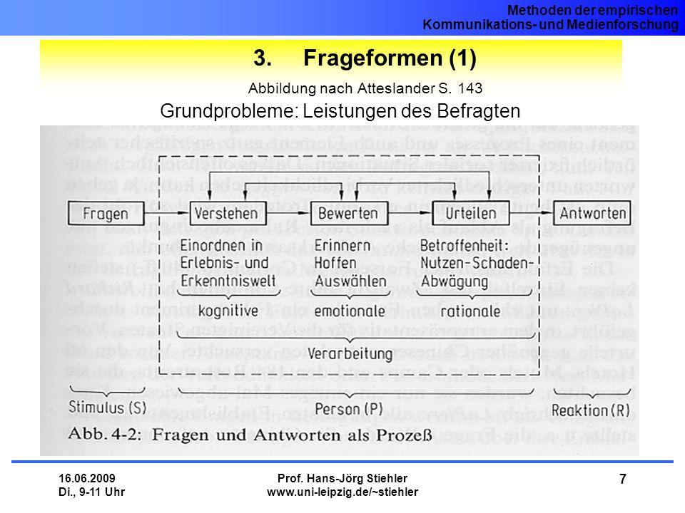 Methoden der empirischen Kommunikations- und Medienforschung 16.06.2009 Di., 9-11 Uhr Prof. Hans-Jörg Stiehler www.uni-leipzig.de/~stiehler 7 3. Frage