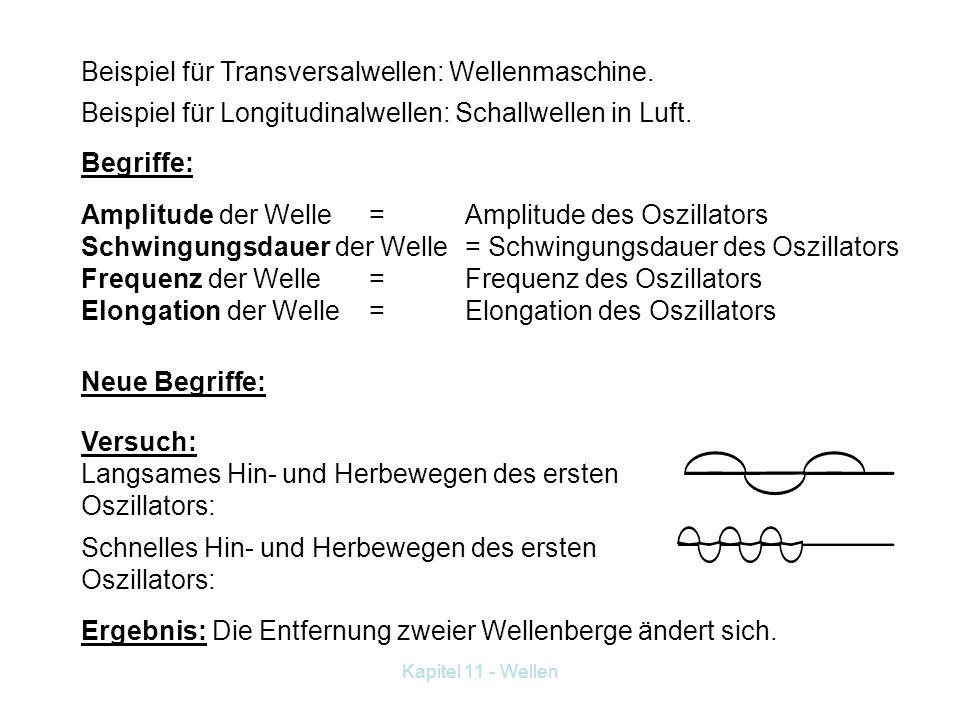 Kapitel 11 - Wellen Beispiel für Transversalwellen: Wellenmaschine.