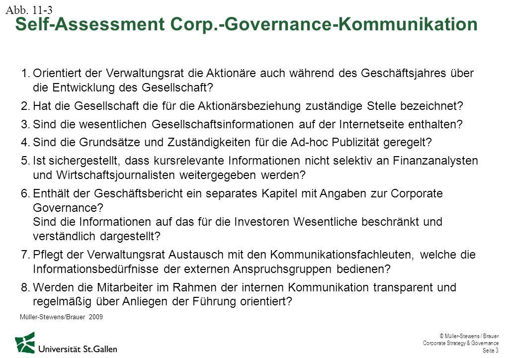 © Müller-Stewens / Brauer Corporate Strategy & Governance Seite 3 1.Orientiert der Verwaltungsrat die Aktionäre auch während des Geschäftsjahres über