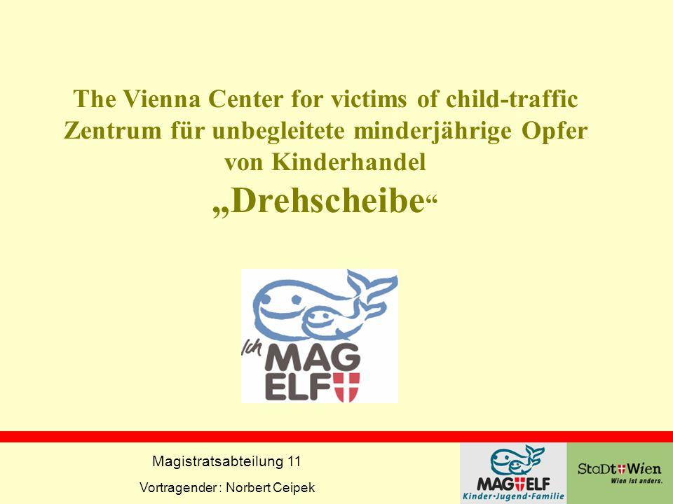 Magistratsabteilung 11 Vortragender : Norbert Ceipek The Vienna Center for victims of child-traffic Zentrum für unbegleitete minderjährige Opfer von K