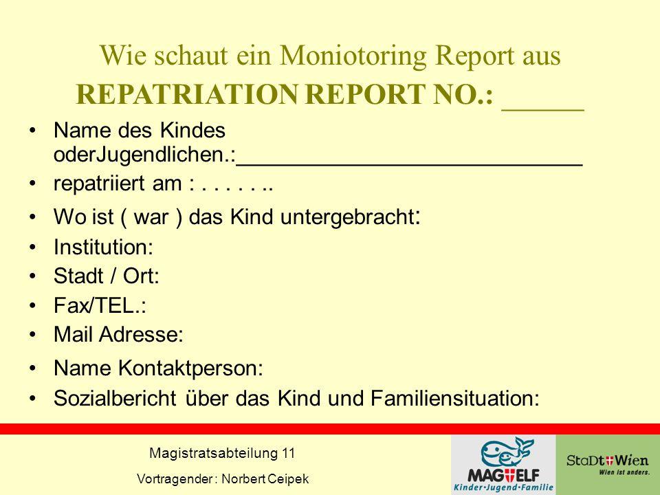 Magistratsabteilung 11 Vortragender : Norbert Ceipek Wie schaut ein Moniotoring Report aus REPATRIATION REPORT NO.: _____ Name des Kindes oderJugendli