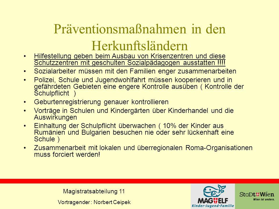 Magistratsabteilung 11 Vortragender : Norbert Ceipek Präventionsmaßnahmen in den Herkunftsländern Hilfestellung geben beim Ausbau von Krisenzentren un