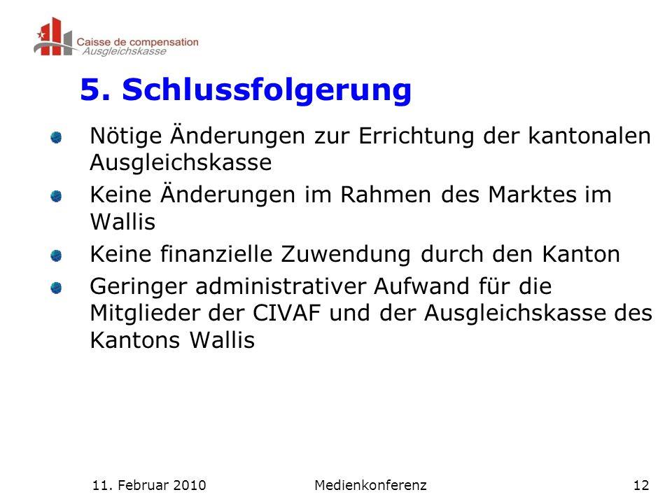 11. Februar 2010Medienkonferenz12 5.