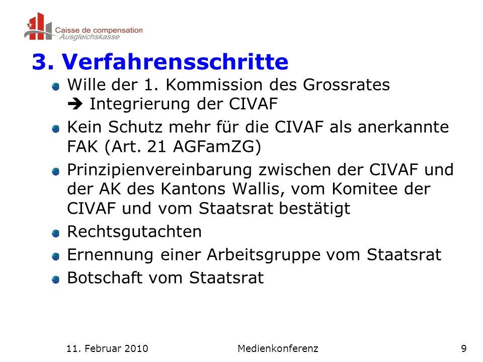 11. Februar 2010Medienkonferenz9 3. Verfahrensschritte Wille der 1.
