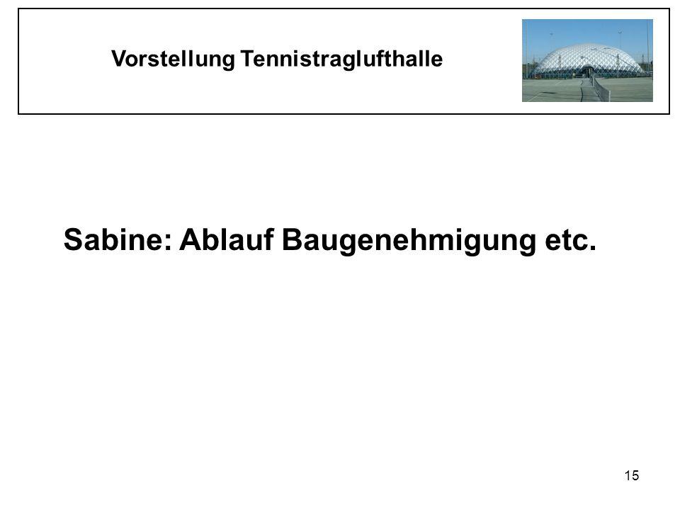 Vorstellung Tennistraglufthalle 15 Sabine: Ablauf Baugenehmigung etc.