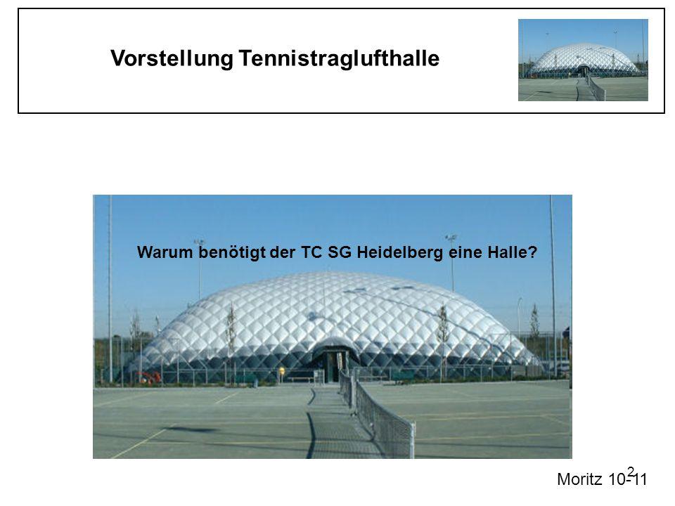 Vorstellung Tennistraglufthalle 2 Warum benötigt der TC SG Heidelberg eine Halle? Moritz 10-11