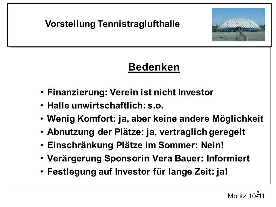 Vorstellung Tennistraglufthalle 6 Bedenken Finanzierung: Verein ist nicht Investor Halle unwirtschaftlich: s.o. Wenig Komfort: ja, aber keine andere M