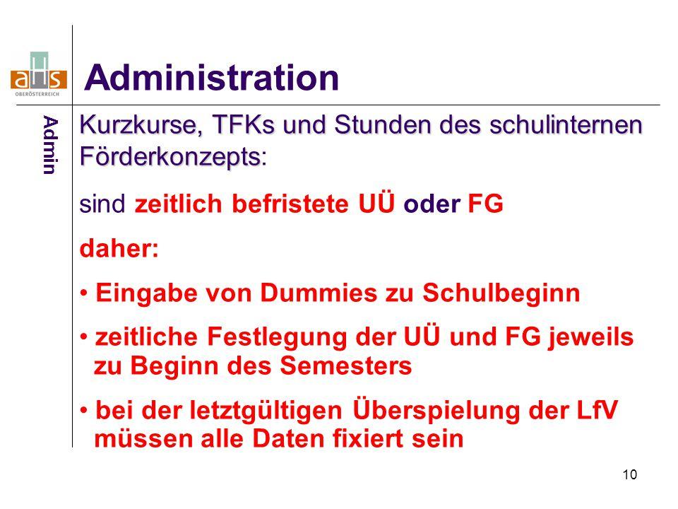 10 Administration Kurzkurse, TFKs und Stunden des schulinternen Förderkonzepts Kurzkurse, TFKs und Stunden des schulinternen Förderkonzepts: sind zeit