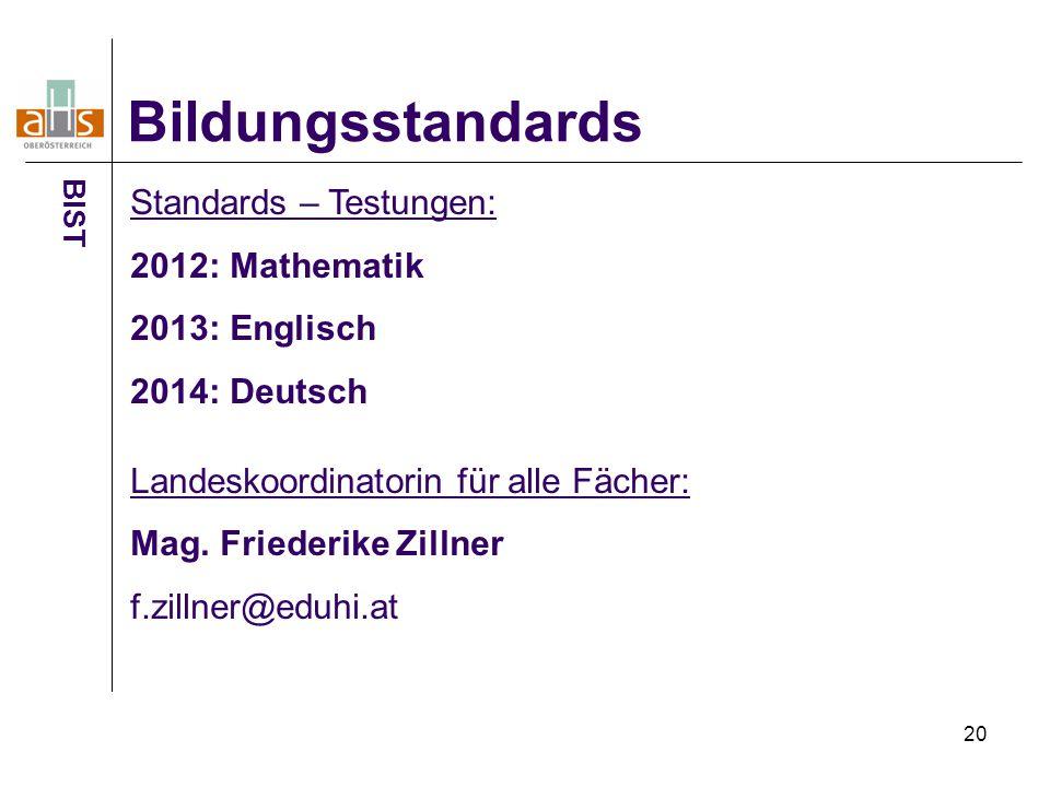 20 Bildungsstandards BIST Standards – Testungen: 2012: Mathematik 2013: Englisch 2014: Deutsch Landeskoordinatorin für alle Fächer: Mag. Friederike Zi