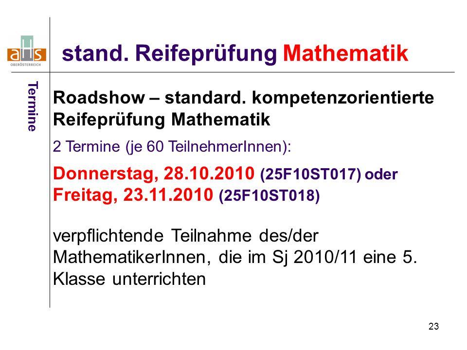 23 stand. Reifeprüfung Mathematik Termine Roadshow – standard. kompetenzorientierte Reifeprüfung Mathematik 2 Termine (je 60 TeilnehmerInnen): Donners