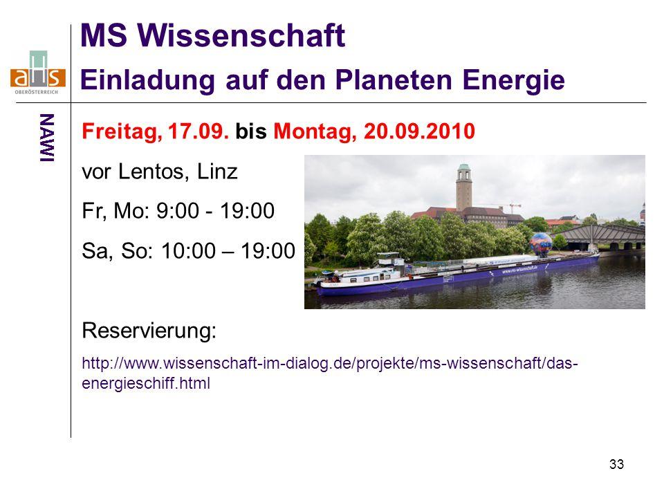33 MS Wissenschaft Einladung auf den Planeten Energie NAWI Freitag, 17.09. bis Montag, 20.09.2010 vor Lentos, Linz Fr, Mo: 9:00 - 19:00 Sa, So: 10:00