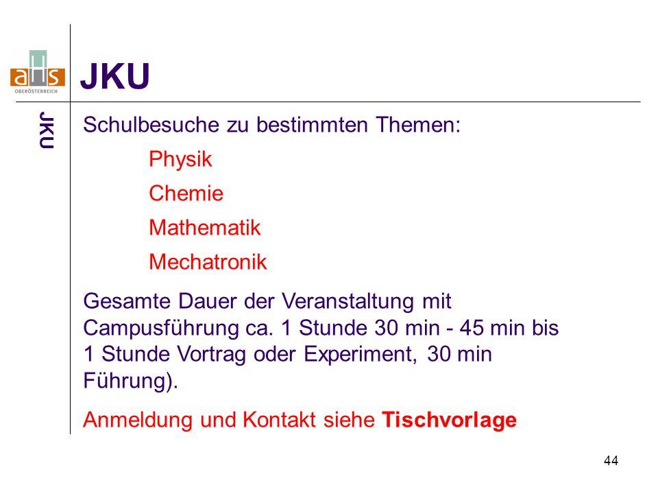 44 JKU Schulbesuche zu bestimmten Themen: Physik Chemie Mathematik Mechatronik Gesamte Dauer der Veranstaltung mit Campusführung ca. 1 Stunde 30 min -