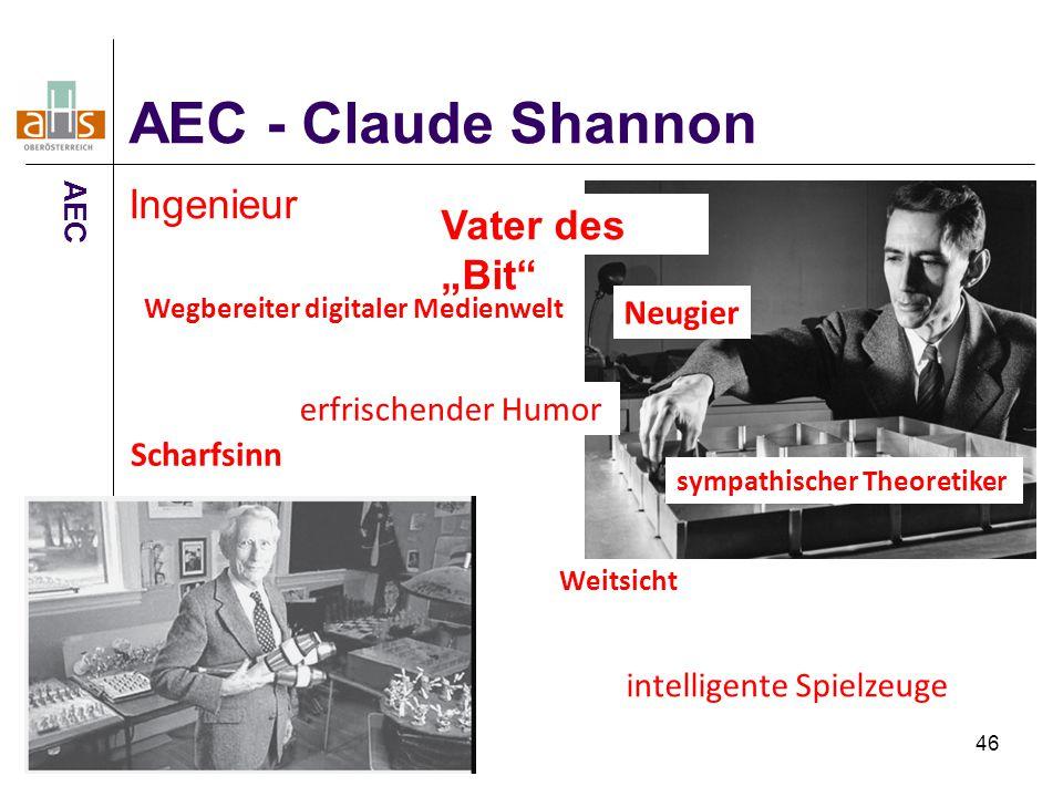 """46 Ingenieur Vater des """"Bit"""" Neugier Scharfsinn Weitsicht erfrischender Humor sympathischer Theoretiker Wegbereiter digitaler Medienwelt intelligente"""