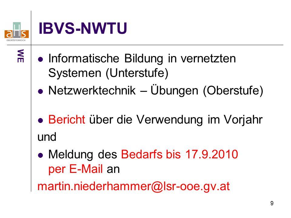 9 IBVS-NWTU Informatische Bildung in vernetzten Systemen (Unterstufe) Netzwerktechnik – Übungen (Oberstufe) Bericht über die Verwendung im Vorjahr und