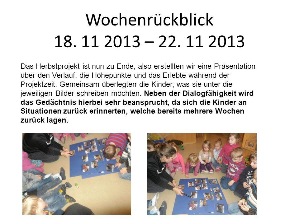 Wochenrückblick 18. 11 2013 – 22. 11 2013 Das Herbstprojekt ist nun zu Ende, also erstellten wir eine Präsentation über den Verlauf, die Höhepunkte un
