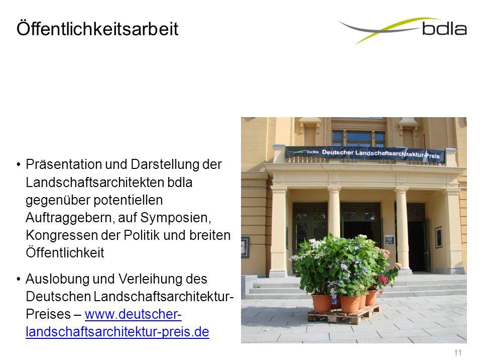 Öffentlichkeitsarbeit Präsentation und Darstellung der Landschaftsarchitekten bdla gegenüber potentiellen Auftraggebern, auf Symposien, Kongressen der
