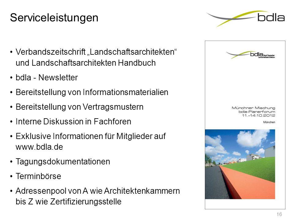"""Serviceleistungen Verbandszeitschrift """"Landschaftsarchitekten"""" und Landschaftsarchitekten Handbuch bdla - Newsletter Bereitstellung von Informationsma"""