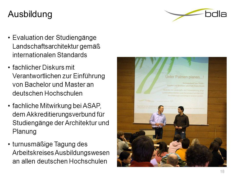 Ausbildung Evaluation der Studiengänge Landschaftsarchitektur gemäß internationalen Standards fachlicher Diskurs mit Verantwortlichen zur Einführung v