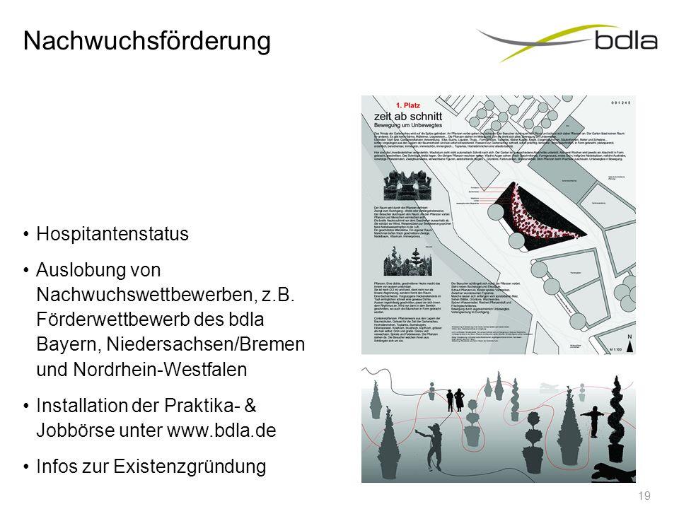Nachwuchsförderung Hospitantenstatus Auslobung von Nachwuchswettbewerben, z.B. Förderwettbewerb des bdla Bayern, Niedersachsen/Bremen und Nordrhein-We