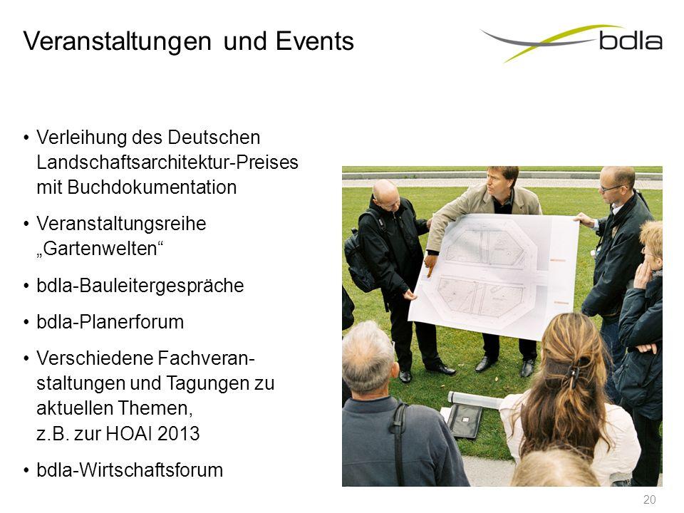 """Veranstaltungen und Events Verleihung des Deutschen Landschaftsarchitektur-Preises mit Buchdokumentation Veranstaltungsreihe """"Gartenwelten"""" bdla-Baule"""