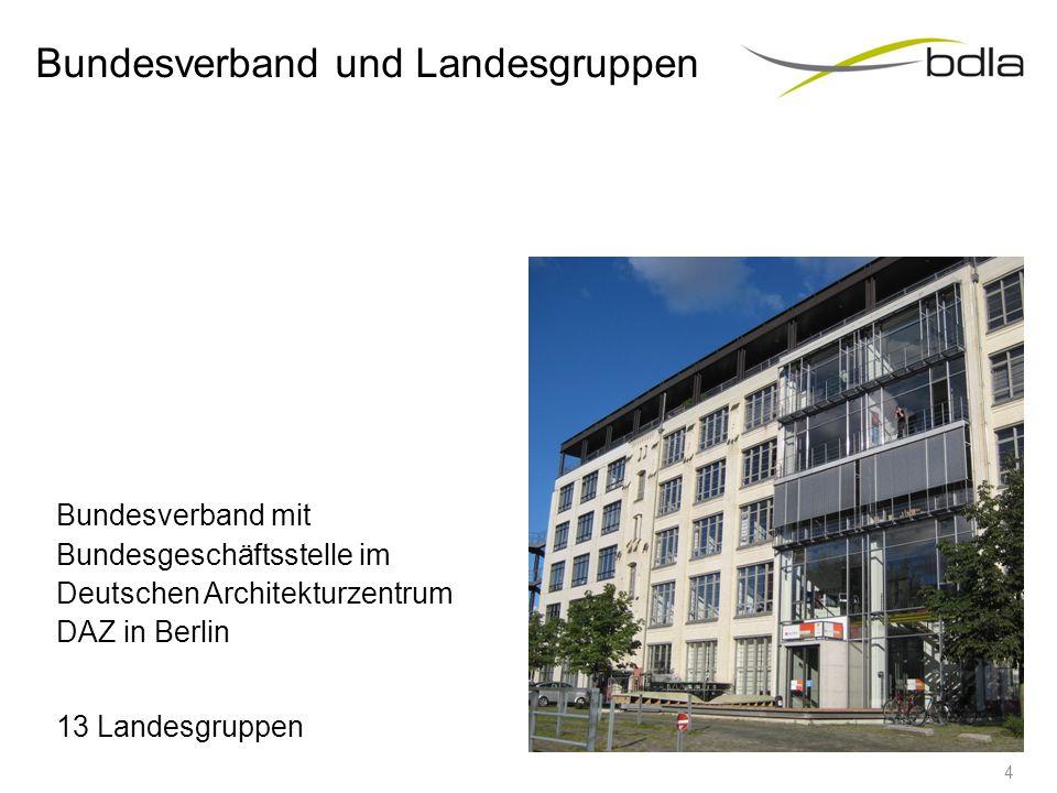 Bundesverband und Landesgruppen Bundesverband mit Bundesgeschäftsstelle im Deutschen Architekturzentrum DAZ in Berlin 13 Landesgruppen 4