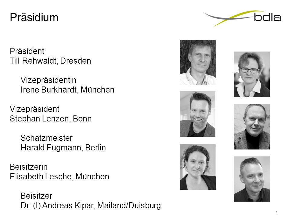 Präsidium Präsident Till Rehwaldt, Dresden Vizepräsidentin Irene Burkhardt, München Vizepräsident Stephan Lenzen, Bonn Schatzmeister Harald Fugmann, B