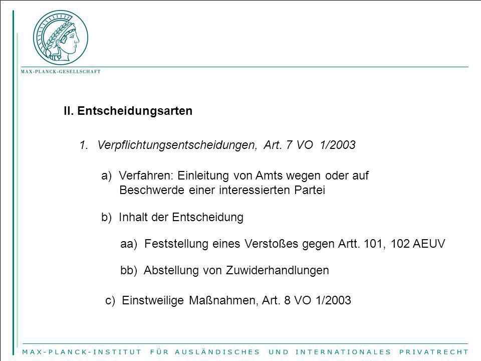 II. Entscheidungsarten 1.Verpflichtungsentscheidungen, Art. 7 VO 1/2003 a) Verfahren: Einleitung von Amts wegen oder auf Beschwerde einer interessiert