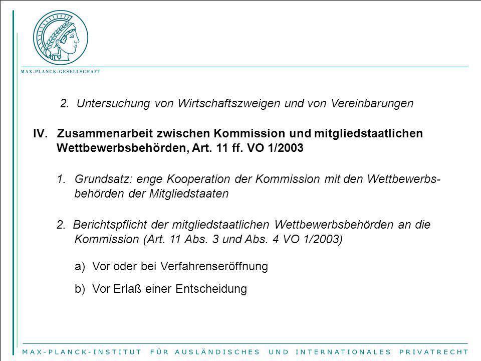 2. Untersuchung von Wirtschaftszweigen und von Vereinbarungen IV.Zusammenarbeit zwischen Kommission und mitgliedstaatlichen Wettbewerbsbehörden, Art.