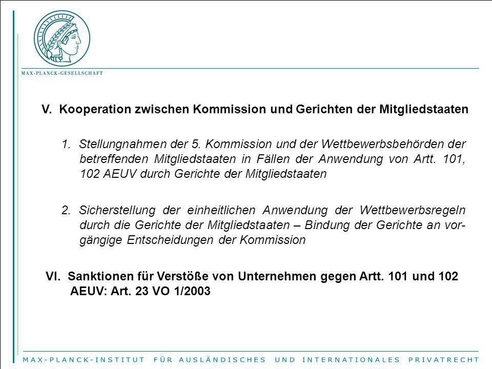 V. Kooperation zwischen Kommission und Gerichten der Mitgliedstaaten 1. Stellungnahmen der 5. Kommission und der Wettbewerbsbehörden der betreffenden