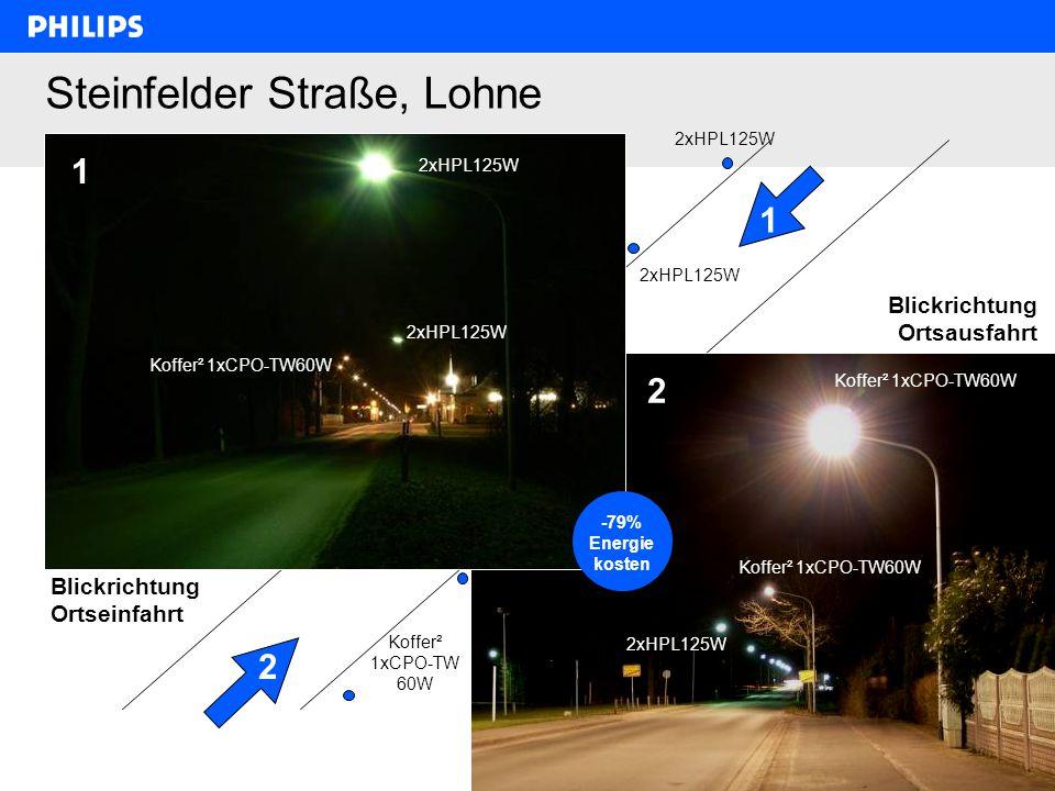 Philips Lighting, Jörg Kupferschlaeger, 6.2.2008, 1. Workshop Klimaschutz im Kreis Segeberg 18 Steinfelder Straße, Lohne 2xHPL125W Koffer² 1xCPO-TW60W