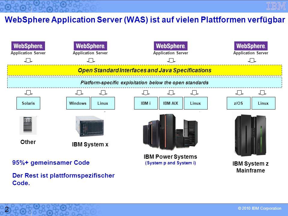© 2010 IBM Corporation 13 AppServer (WAS z/OS) Servant Region JVM App WLM Queues Servant Region JVM App 90% Requests in 0.2 Sekunden 90% Requests in 1 Sekunde Control Region JVM Request Gold Kunde Request Silber Kunde Verfügbarkeit: Bereits ein logischer Application Server kann aus mehreren Java Virtual Machines (JVM) bestehen.